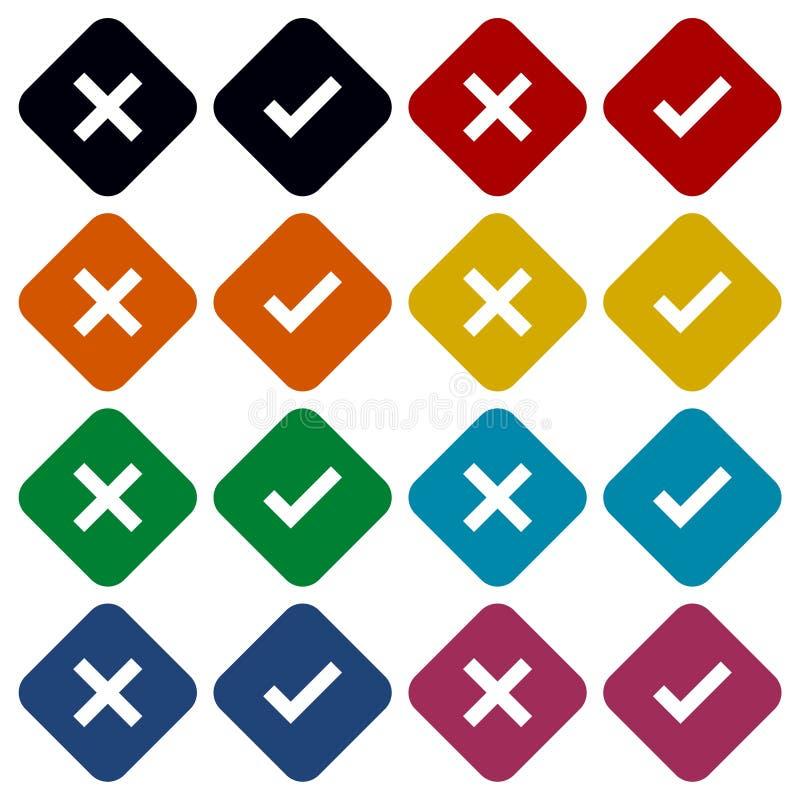 La marca de verificación y los iconos cuadrados de x fijaron - el ejemplo stock de ilustración