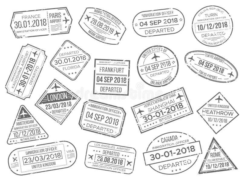 La marca del prestigio del aeropuerto del negocio y el control de pasaportes de las aduanas sellan Funcionario extranjero del pas ilustración del vector