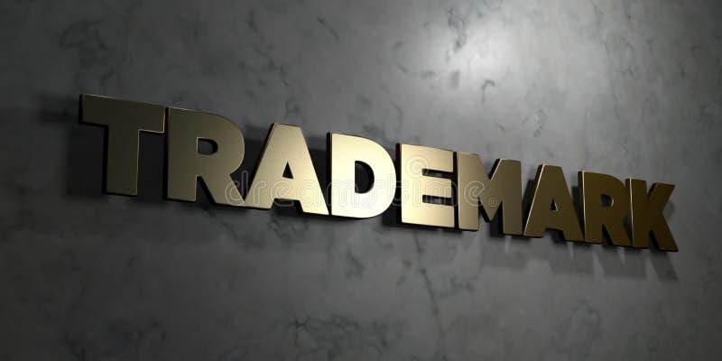 La marca registrada - muestra del oro montada en la pared de mármol brillante - 3D rindió el ejemplo común libre de los derechos ilustración del vector