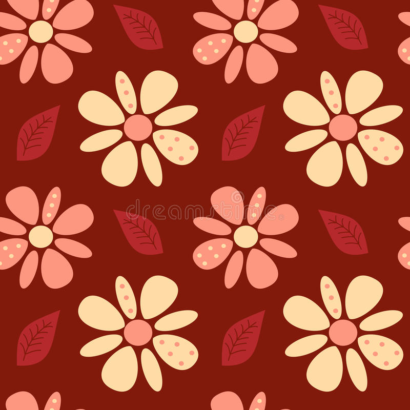 La margarita abstracta preciosa linda florece en el ejemplo inconsútil del modelo del fondo rojo ilustración del vector
