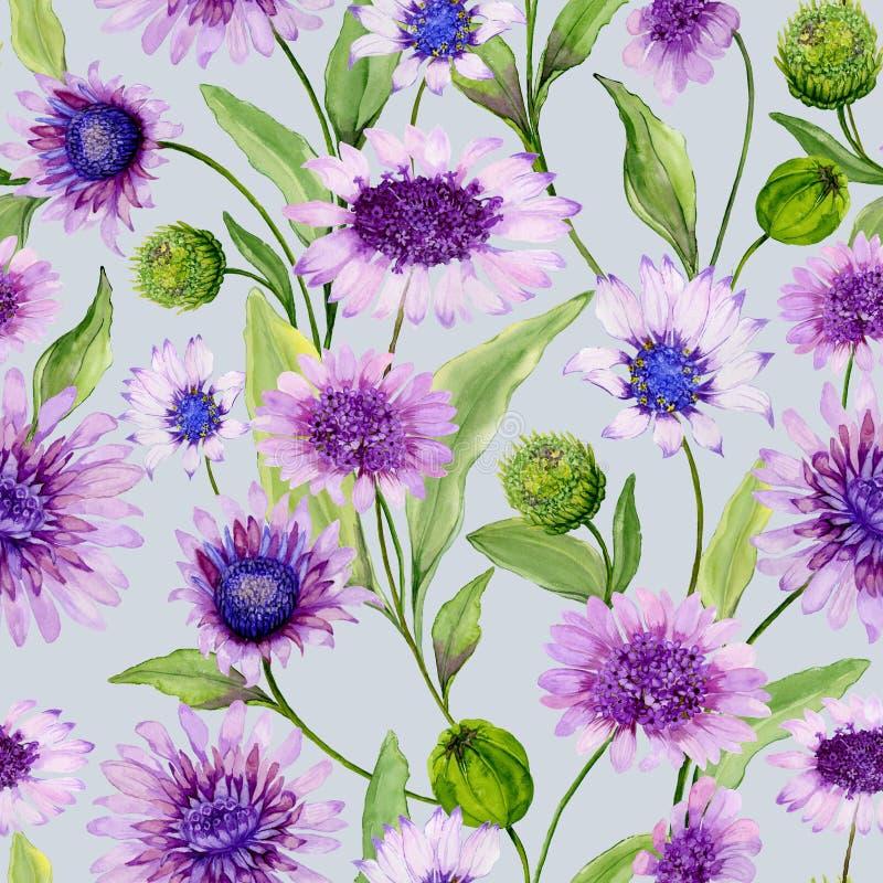La margarita azul y púrpura hermosa florece con las hojas verdes en fondo ligero Modelo inconsútil de la primavera Pintura de la  ilustración del vector