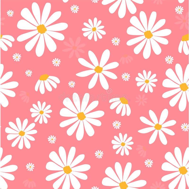 La margarita blanca florece en fondo inconsútil del modelo en colores pastel rosado libre illustration