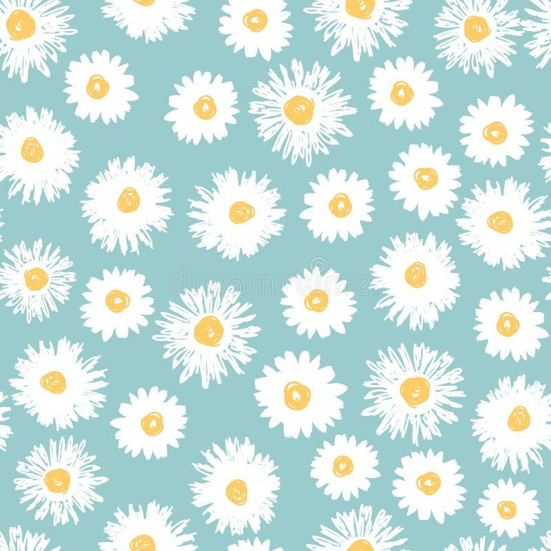 La margarita simple florece el modelo inconsútil stock de ilustración
