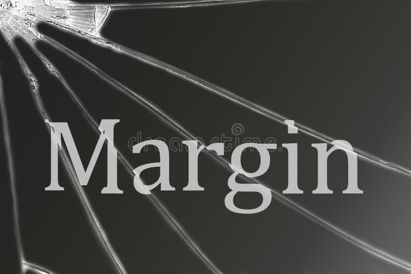 La marge des textes sur le verre cassé Crise financière image stock