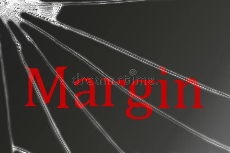 La marge des textes sur le verre cassé Crise financière image libre de droits