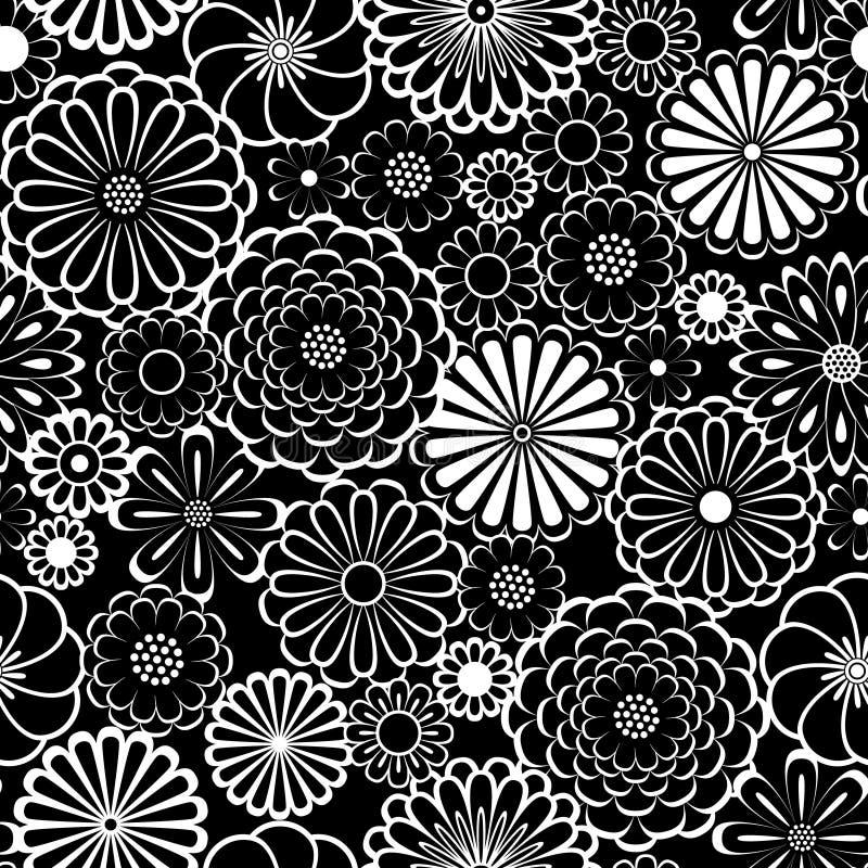 La margherita in bianco e nero del cerchio fiorisce il modello senza cuciture naturale, vettore illustrazione di stock