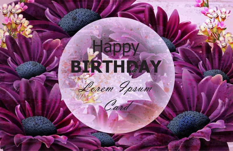 La margherita di buon compleanno fiorisce il vettore della carta Ambiti di provenienza floreali della decorazione illustrazione vettoriale