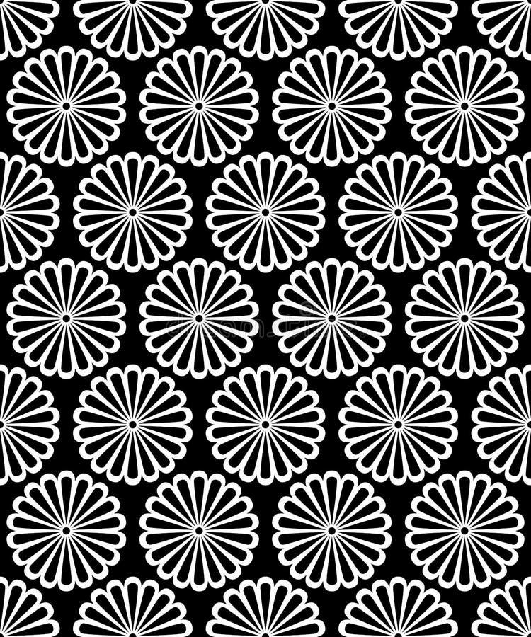 La margherita rotonda simmetrica in bianco e nero fiorisce il modello senza cuciture, vettore royalty illustrazione gratis