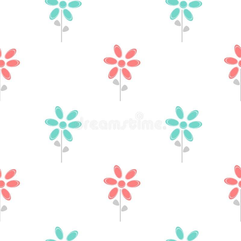 La marguerite abstraite mignonne colorée fleurit l'illustration sans couture bleue et rouge de fond de modèle illustration libre de droits