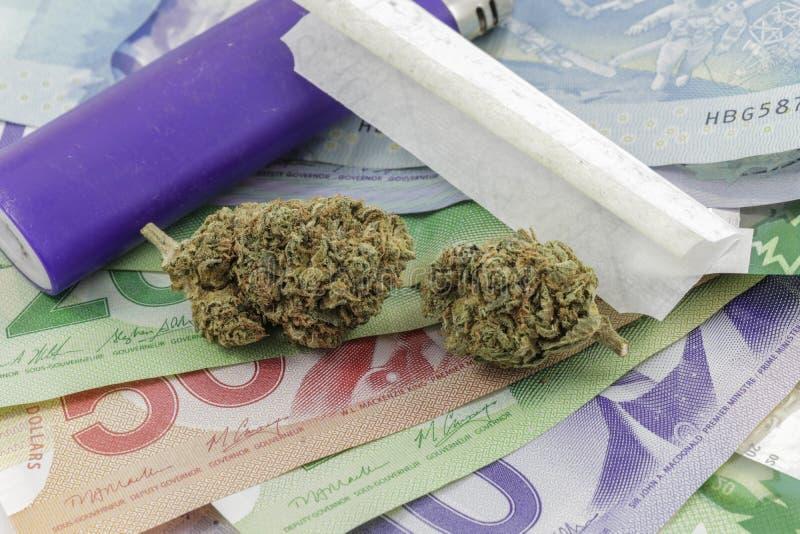 La marijuana germoglia su soldi con un accendino e le carte di rotolamento immagine stock libera da diritti