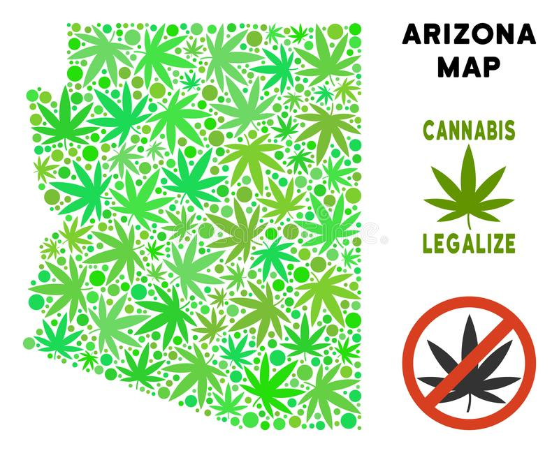 La marijuana gratuite de redevance part de la carte d'état de l'Arizona de style illustration libre de droits