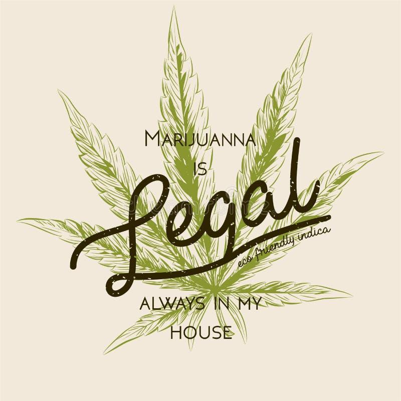 La marijuana juridique, cannabis de mauvaise herbe verdissent le rétro logo de feuille, conception de T-shirt Label indica Place  illustration de vecteur