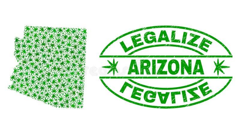La marijuana laisse la carte d'état de l'Arizona de collage avec légalisent le joint grunge de timbre illustration stock