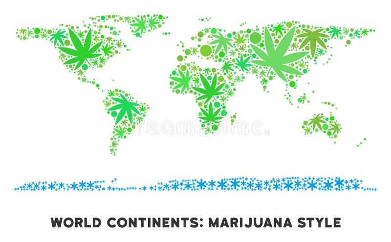 La marijuana libre de los derechos sale mundo del collage del mapa continente libre illustration