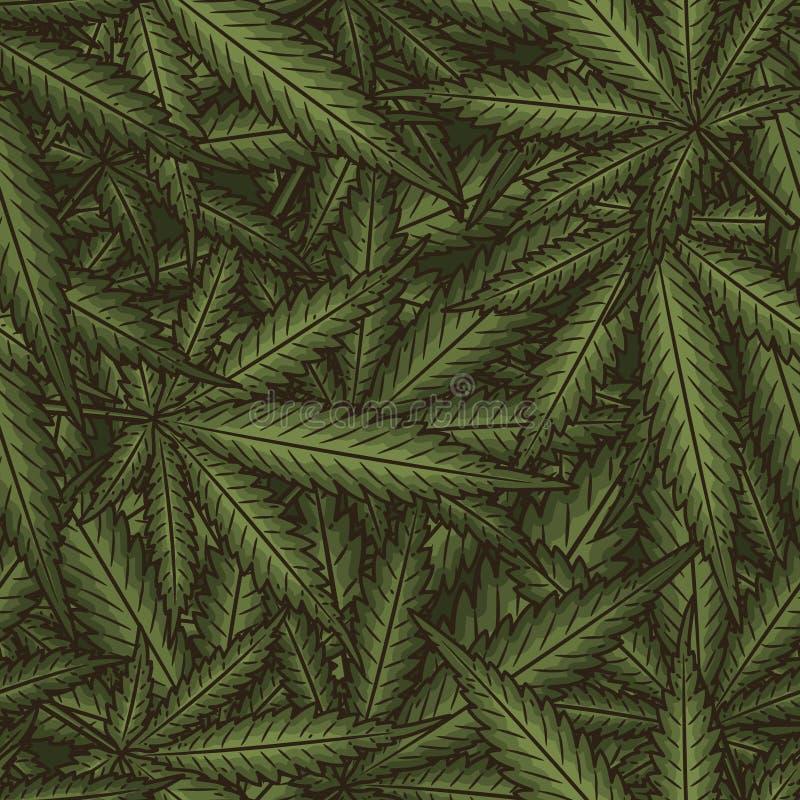 La marijuana part du modèle sans couture de vecteur Fond de vert d'usine de cannabis illustration de vecteur
