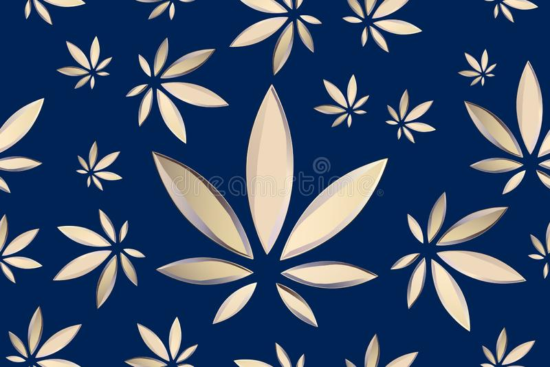 La marijuana part du mod?le sans couture de vecteur Fond bleu d'usine de cannabis V?g?tation dense de ganja illustration stock