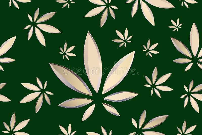La marijuana part du mod?le sans couture de vecteur Fond de brun d'usine de cannabis V?g?tation dense de ganja illustration de vecteur