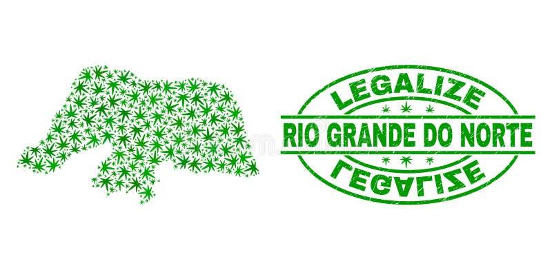La marijuana sale del collage Rio Grande Do Norte State que el mapa con legaliza el sello del sello del Grunge ilustración del vector