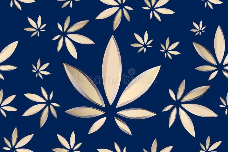 La marijuana sale del modelo incons?til del vector Fondo azul de la planta del c??amo Vegetaci?n densa del ganja stock de ilustración
