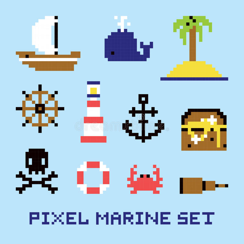 La marine d'art de pixel a isolé l'ensemble de vecteur illustration de vecteur