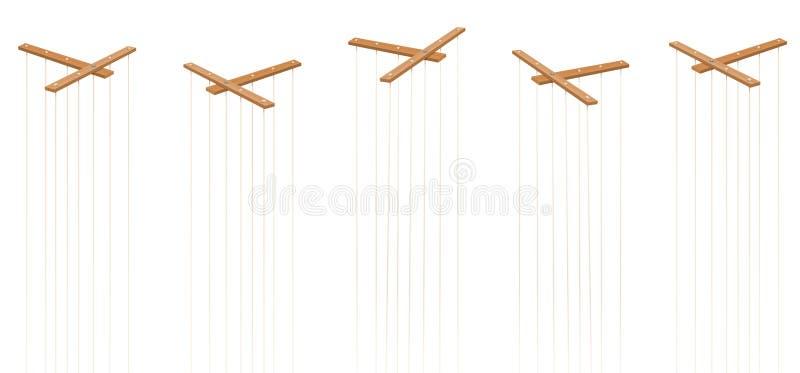 La marionetta mette insieme cinque barre vuote nessun burattini illustrazione di stock