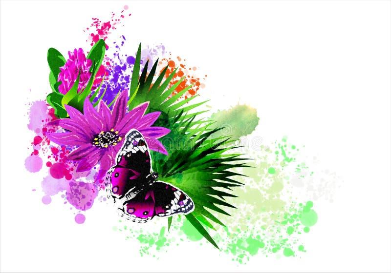 La mariposa con una flor en el fondo del arco iris salpica ilustración del vector