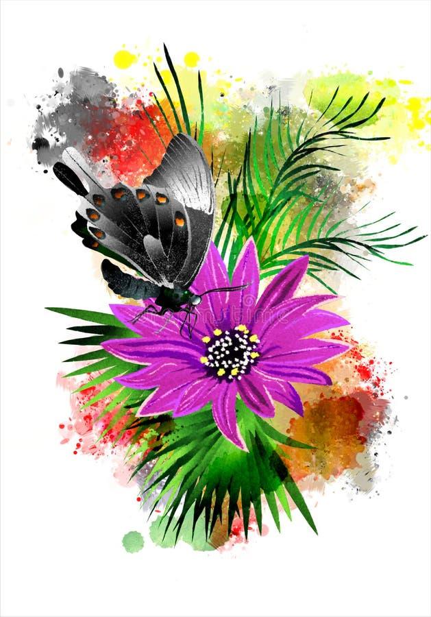 La mariposa con una flor en el fondo del arco iris salpica libre illustration