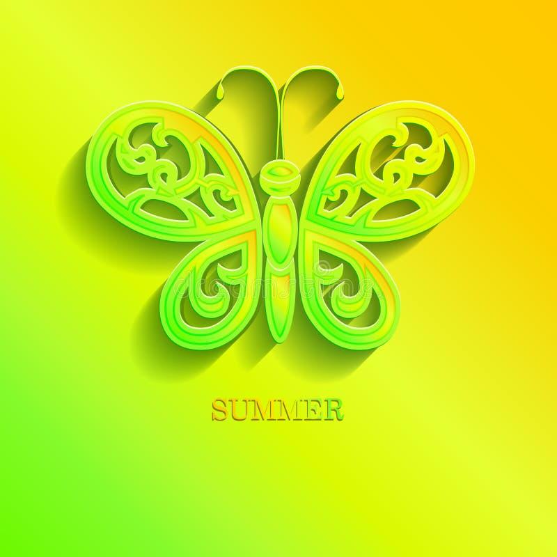 La mariposa hermosa con las alas a cielo abierto cortó del papel ilustración del vector