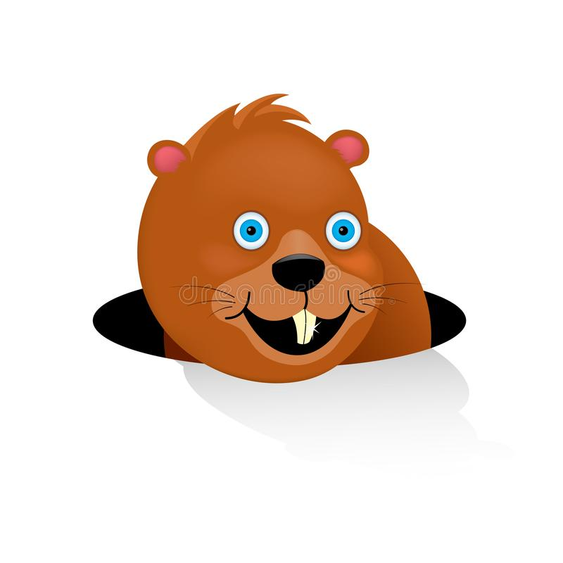 La marmotta felice ha guardato dal visone ha visto la sua ombra Festa 2 febbraio tradizionale negli Stati Uniti e nel Canada E illustrazione vettoriale