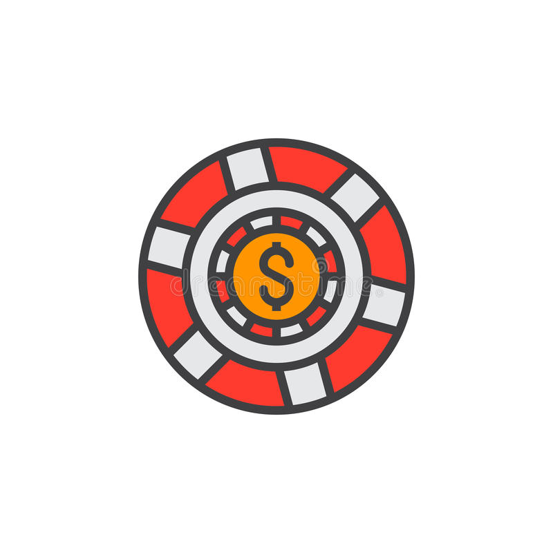 La marque de casino, ligne icône de puce de jeu, a rempli signe de vecteur d'ensemble, illustration stock
