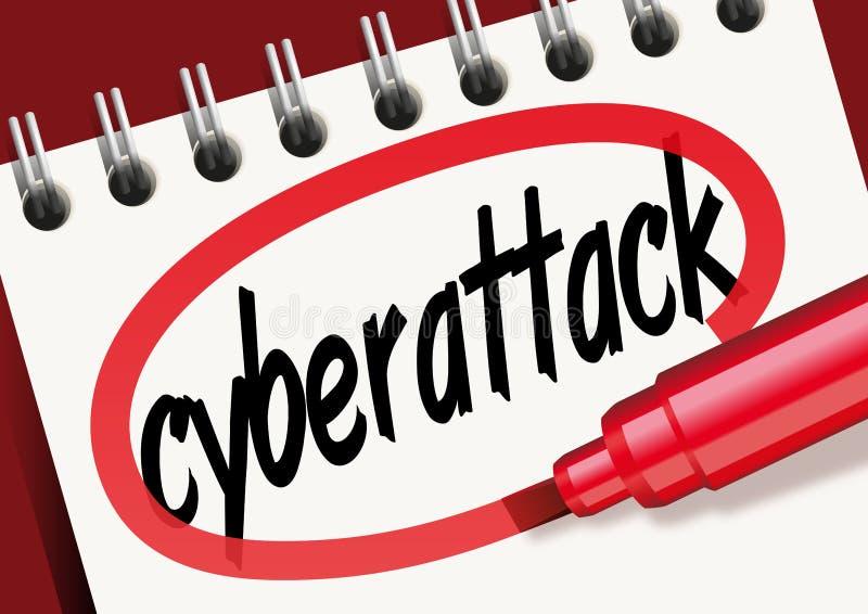 La marque de cyberattack de mot sur un bloc-notes illustration de vecteur