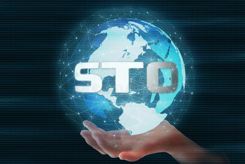 La marque de sécurité offrant le texte de STO sur 3D rendant la sphère futuriste de globe a mené entouré par la connexion réseau  illustration libre de droits