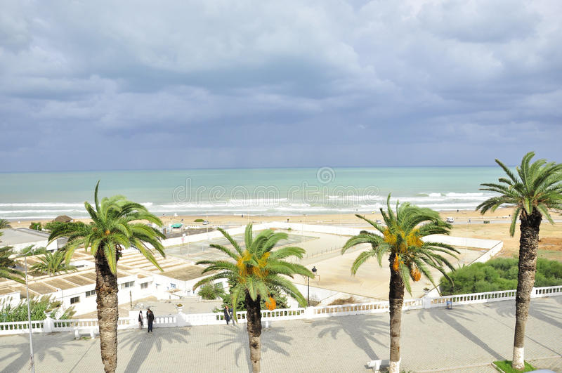 La Marsa Corniche Beach, Tunisia. La Marsa Corniche Beach frontline after the storm, Tunisia royalty free stock photo