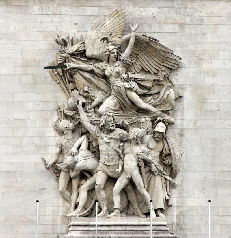 La Marseillaise Francois Rude - grupo escultural en la base de Arc de Triomphe de l ` Etoile, París imagen de archivo