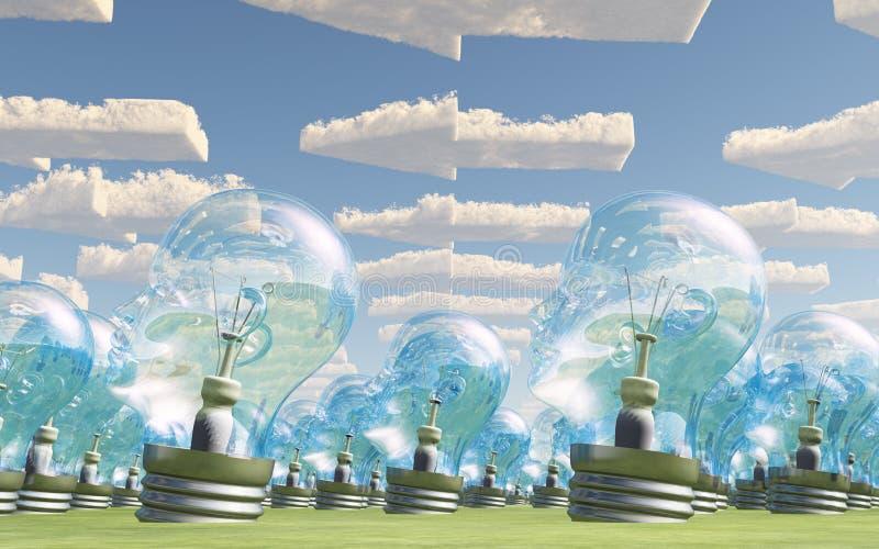 La masa del bulbo dirige señalar con las nubes de la flecha stock de ilustración