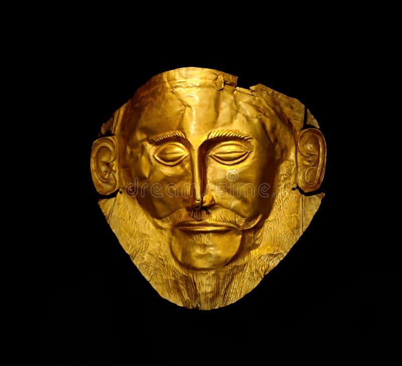 La maschera dorata di Agamemnon fotografia stock