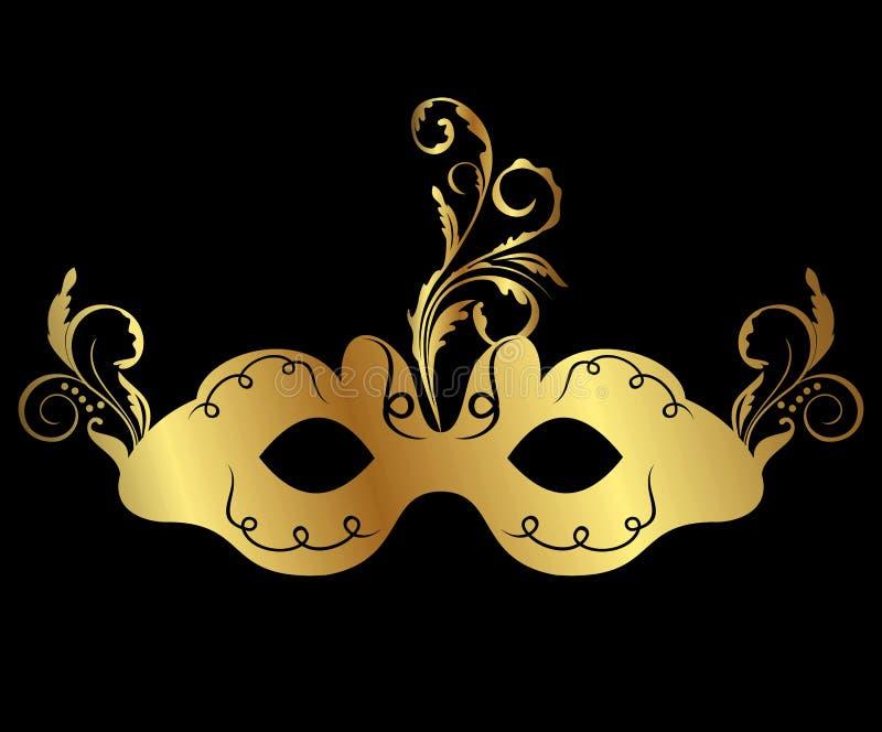 La mascherina floreale di carnevale dell'oro ha isolato royalty illustrazione gratis