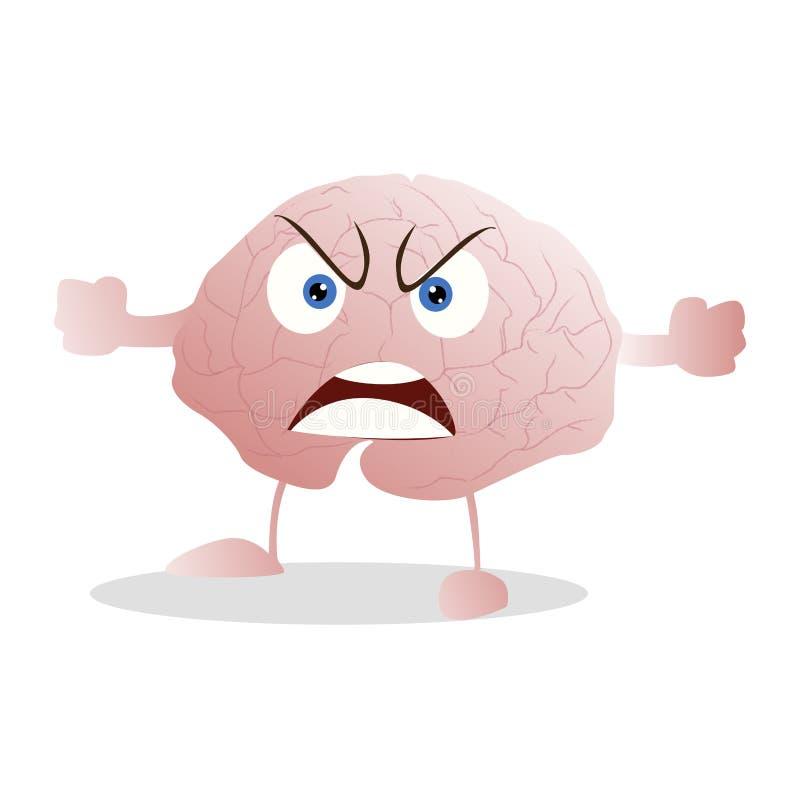 La mascota enojada y enfadada del cerebro aisló stock de ilustración