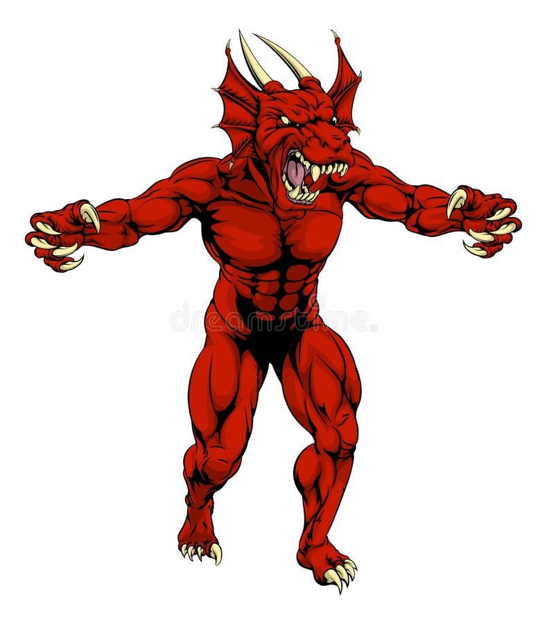 La mascota roja del dragón agarra hacia fuera ilustración del vector