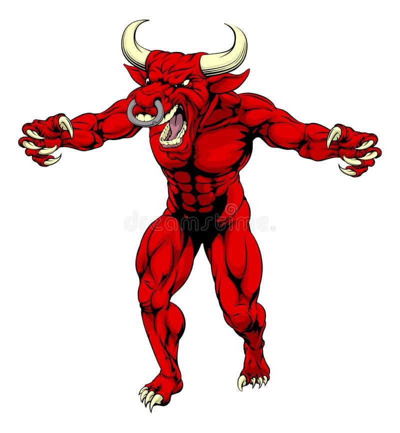 La mascota roja del toro agarra hacia fuera ilustración del vector