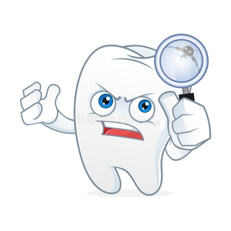 La mascotte de bande dessinée de dent a eu le mal de dents illustration libre de droits
