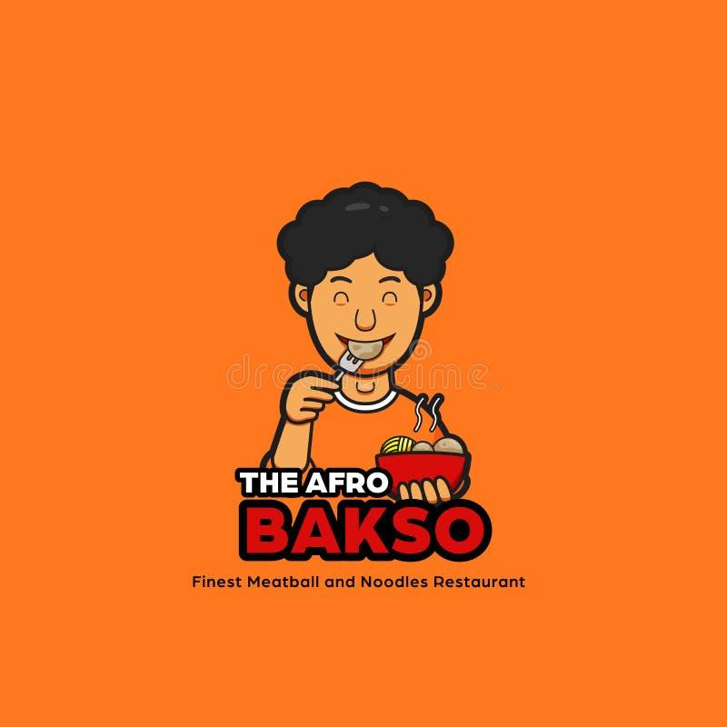 La mascotte di logo delle tagliatelle di bakso di afro con il carattere maschio dei capelli di afro che mangia polpetta royalty illustrazione gratis