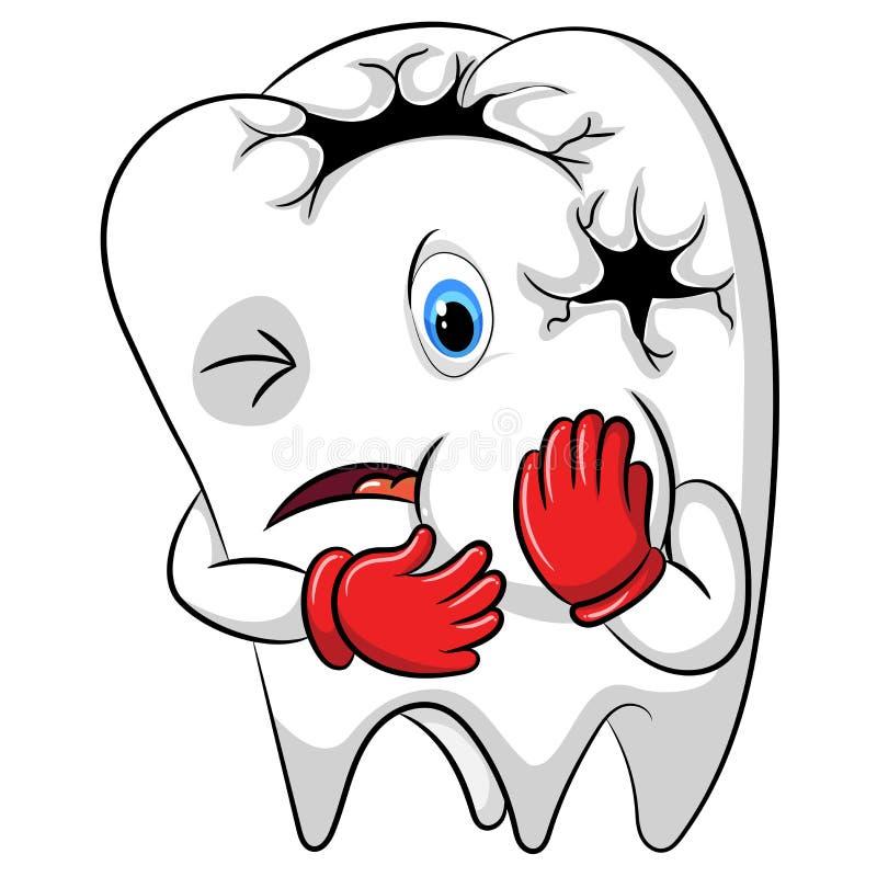 La mascotte di mal di denti il grande foro nel suo corpo illustrazione di stock