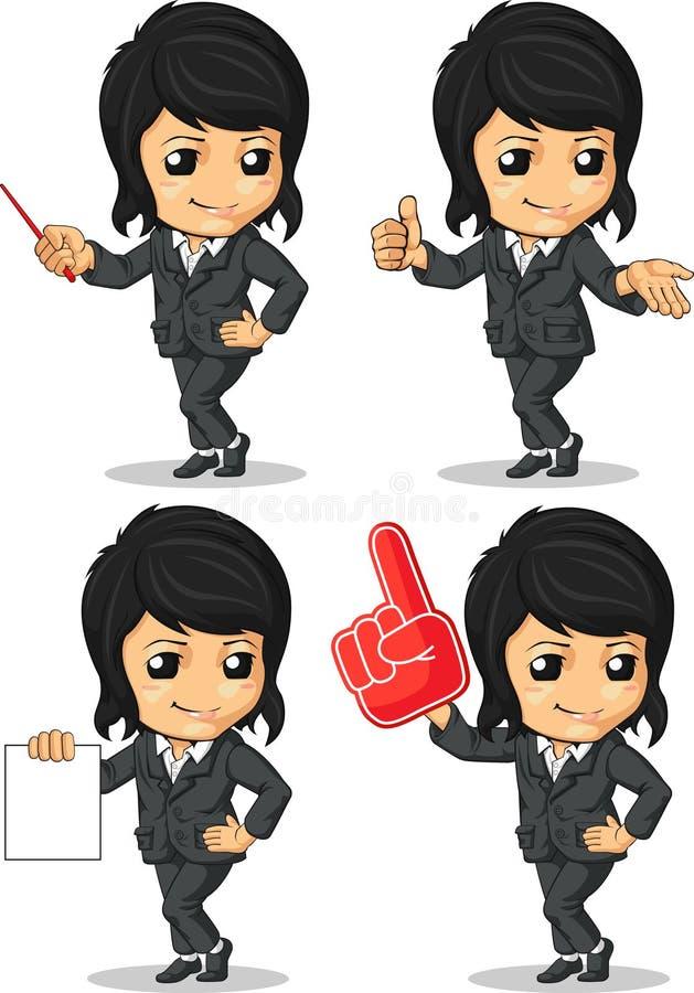 La mascotte sorridente della donna di affari in molti propone illustrazione vettoriale