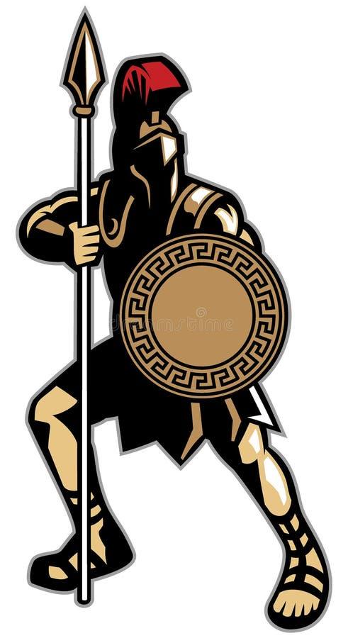 La mascotte spartana che tengono l'arma della lancia ed il cerchio modellano lo shi royalty illustrazione gratis
