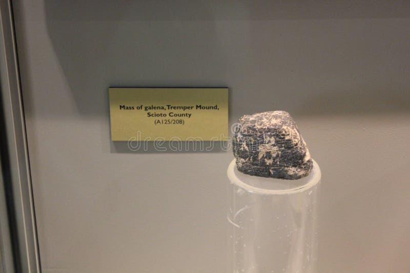 La masse de la galène du monticule de Tremper montrée au musée antique de fort image libre de droits