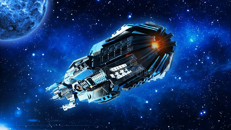 La maternidad extranjera, nave espacial en el vuelo del espacio profundo, de la nave espacial del UFO en universo con el planeta  libre illustration