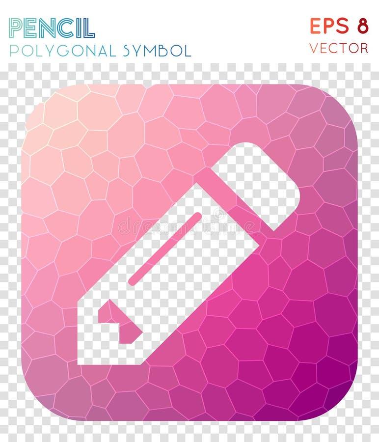 La matita ha quadrato il simbolo poligonale illustrazione vettoriale