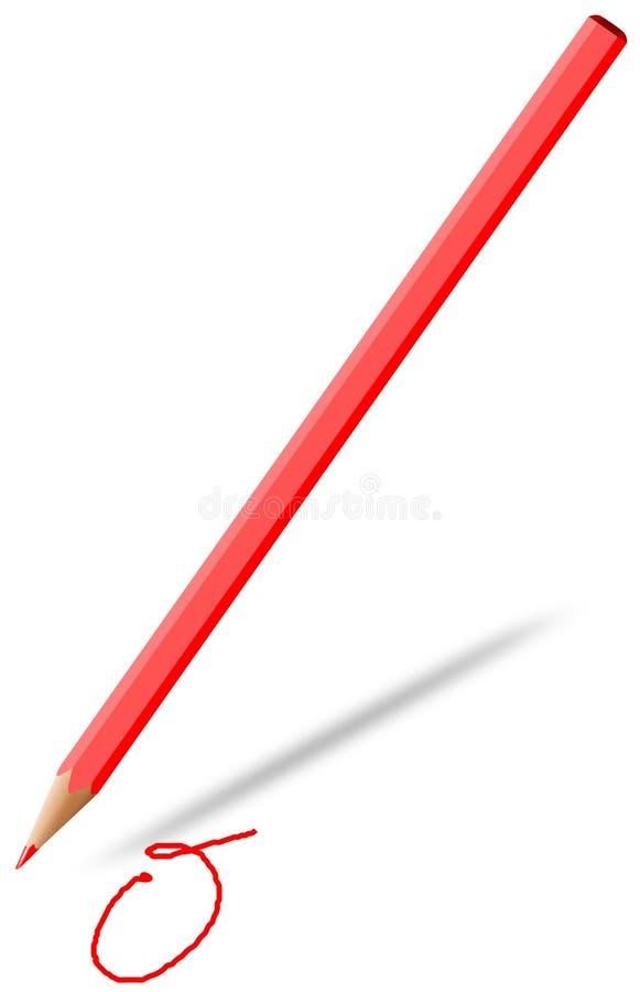La matita nel rosso disegna uno zero fotografie stock