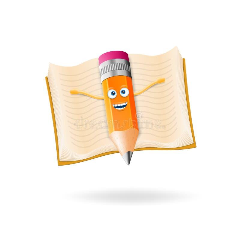 La matita realistica e sporca del carattere 3D vola con un libro per conoscenza Di nuovo al banco illustrazione vettoriale